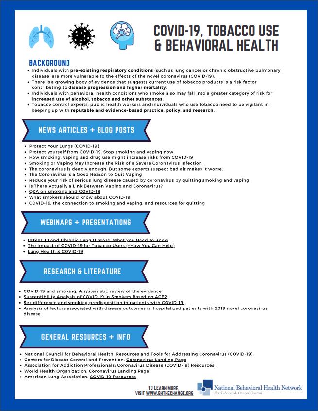 COVID-19, Tobacco Use & Behavioral Health - NBHN Factsheet