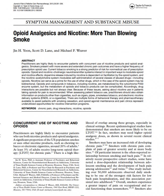 Opioid Analgesics and Nicotine: More Than Blowing Smoke