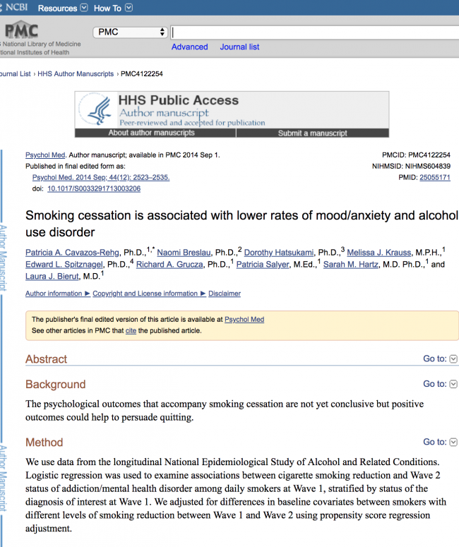 Smoking Cessation is Associated with Lower Rates of Mood/Anxiety and Alcohol Use Disorder